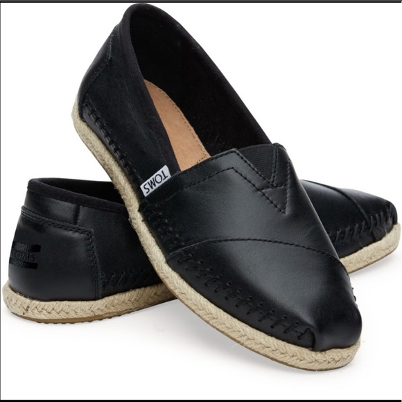 Toms Shoes | Black Leather Espadrilles